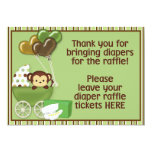 Monkey Carriage Grn Baby Shower Diaper Raffle Sign Card