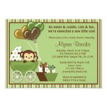 Monkey Carriage v1 Green Baby Shower Invitations