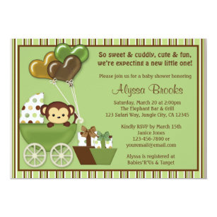 Monkey Baby Shower Invitations Zazzle