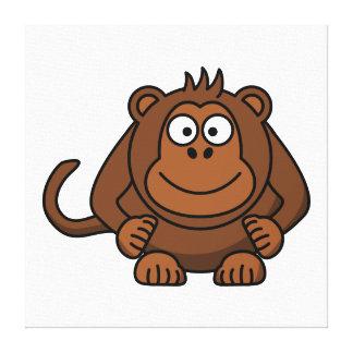 Monkey Cartoon Animal Gallery Wrapped Canvas