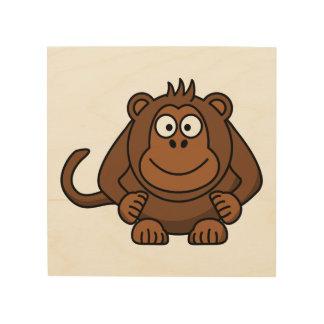 Monkey Cartoon Animal Wood Canvas