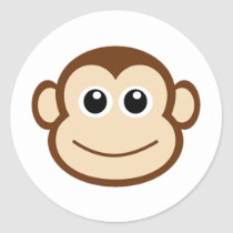 Monkey Cartoon Classic Round Sticker
