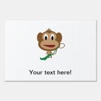 Monkey cartoon yard sign
