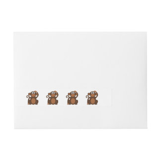 Monkey cartoon wraparound address label
