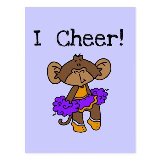 Monkey Cheerleader Gold and Purple Postcards