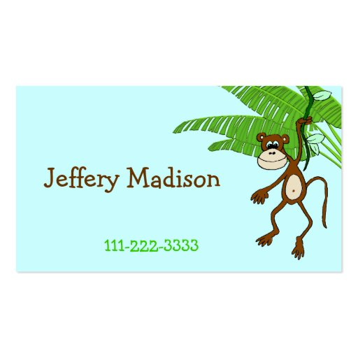 Monkey Children's Calling Card Business Card Template