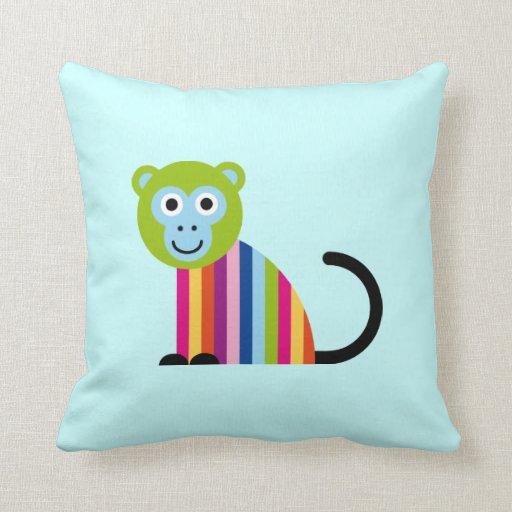 Monkey Chimp Cute Colorful Cartoon Animal Pillow Zazzle