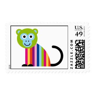 Monkey Chimp Cute Colorful Cartoon Animal Postage
