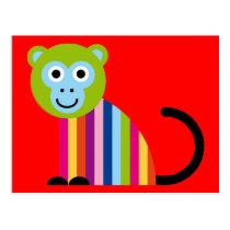 Monkey Chimp Cute Colorful Cartoon Animal Postcard