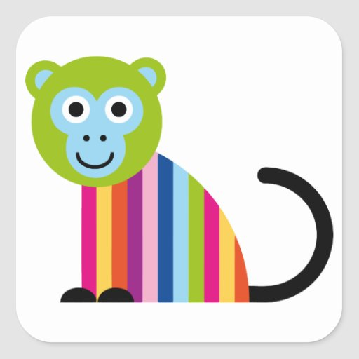 Monkey Chimp Cute Colorful Cartoon Animal Square Sticker