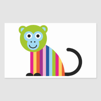 Monkey Chimp Cute Colorful Cartoon Animal Rectangle Stickers