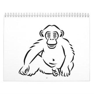 Monkey chimpanzee wall calendar