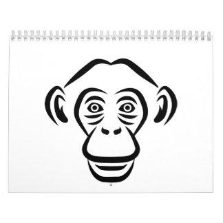 Monkey chimpanzee head calendar