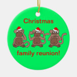 monkey Christmas Double-Sided Ceramic Round Christmas Ornament
