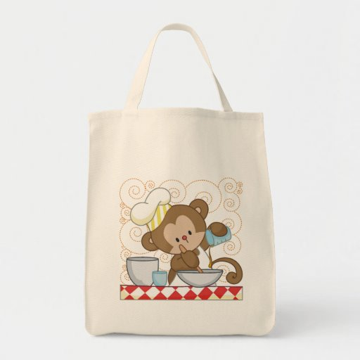 Monkey Cook Grocery Tote Bag