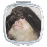 Monkey covering its eyes compact mirror