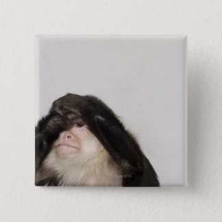 Monkey covering its eyes pinback button