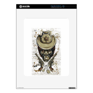 monkey cowboy skull with twin guns decals for the iPad