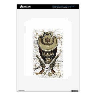 monkey cowboy skull with twin guns iPad 3 decal