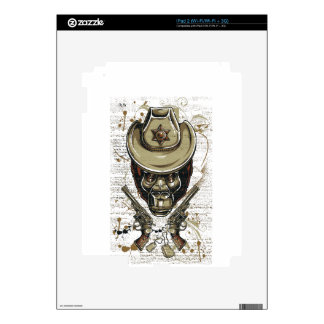 monkey cowboy skull with twin guns skins for the iPad 2
