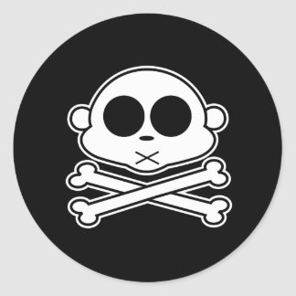 Monkey Cross Bone Classic Round Sticker