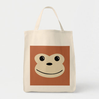 Monkey Cute Animal Face Design Grocery Tote Bag