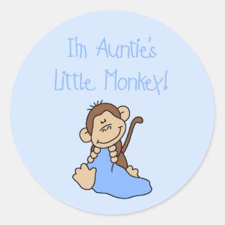 Monkey de tía - camisetas y regalos azules etiquetas