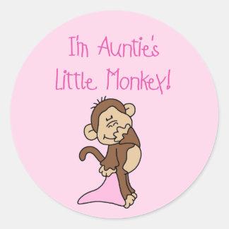 Monkey de tía - camisetas y regalos rosados pegatina redonda
