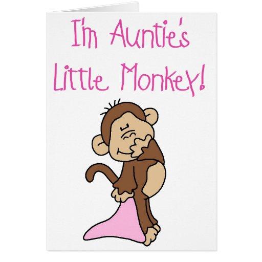 Monkey de tía rosada tarjeta de felicitación