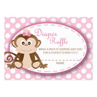 Monkey Diaper Raffle Tickets-Baby Girl Business Card