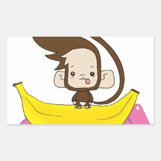 Monkey 'Do on a Banana Rectangular Sticker