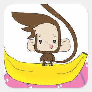 Monkey 'Do on a Banana Square Sticker