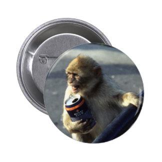 Monkey Drinking Pinback Button