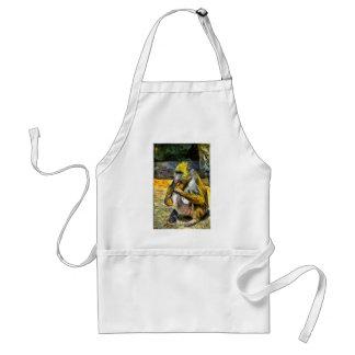 Monkey eating adult apron