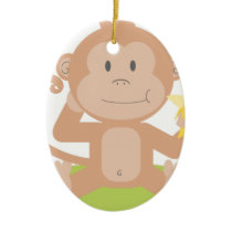 Monkey Eating Banana Ceramic Ornament
