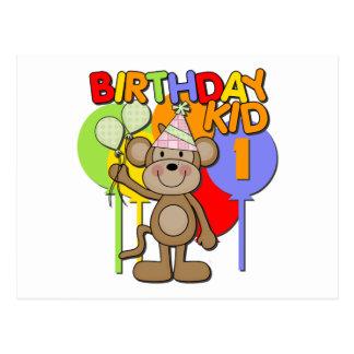 Monkey el 1r cumpleaños tarjetas postales