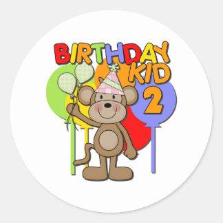 Monkey el 2do cumpleaños etiqueta redonda