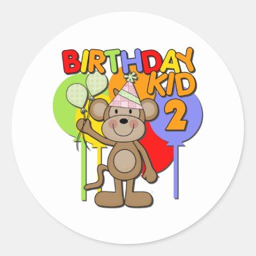 Monkey el 2do cumpleaños pegatina redonda