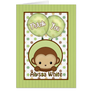 Monkey el verde de la fiesta de bienvenida al bebé tarjeta pequeña