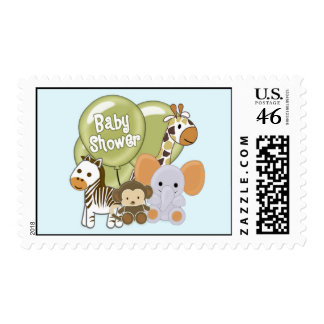 Monkey Elephant Baby Shower CA Blue Postage 2