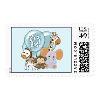 Monkey Elephant Baby Shower CJ Blue BOY Postage