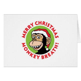 Monkey Elf Christmas Greeting Card