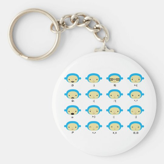 Monkey Emoticons Keychain