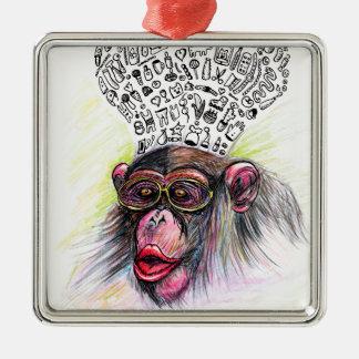 Monkey explosion. Woman Metal Ornament