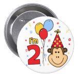 Monkey Face  2nd Birthday Pin