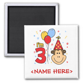 Monkey Face  3rd Birthday 2 Inch Square Magnet