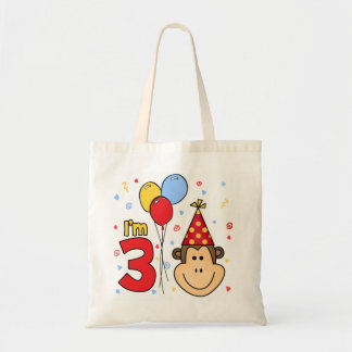 Monkey Face 3rd Birthday Budget Tote Bag