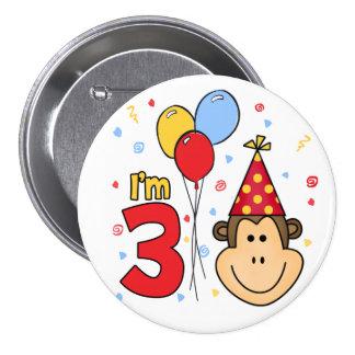 Monkey Face 3rd Birthday Button