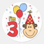 Monkey Face 3rd Birthday Classic Round Sticker