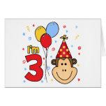 Monkey Face 3rd Birthday Invitations Stationery Note Card